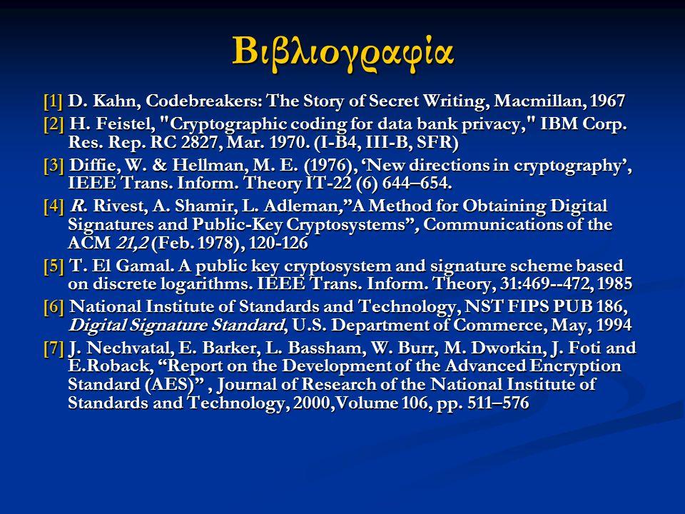 Βιβλιογραφία [1] D. Kahn, Codebreakers: The Story of Secret Writing, Macmillan, 1967.